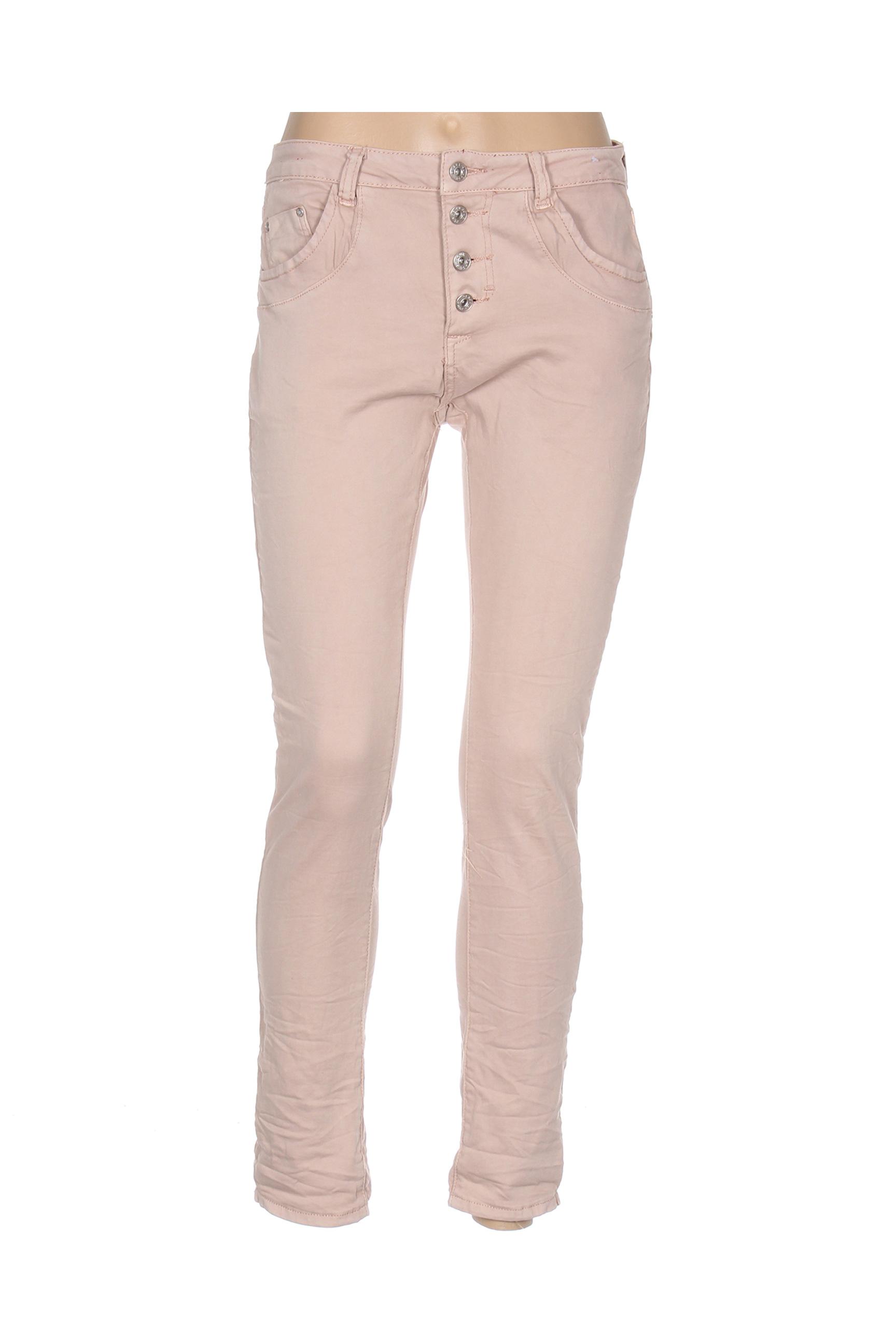 place du jour pantalons decontractes femme de couleur rose en soldes pas cher 1354829 rose00 modz