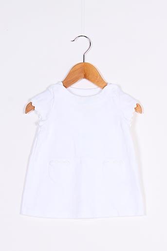 Robe courte blanc PETIT BATEAU pour fille