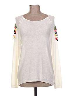Pull col rond beige GOLDEN DAYS pour femme