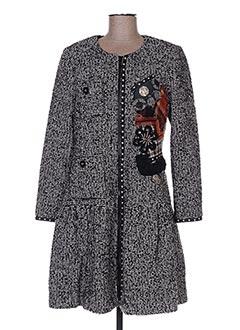Manteau long noir BLEU BLANC ROUGE pour femme