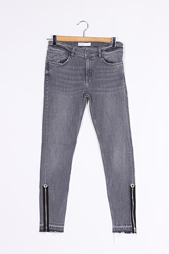 Jeans coupe slim gris ZARA pour femme