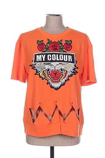 Sweat-shirt orange POUPÉE DE SOIE pour femme