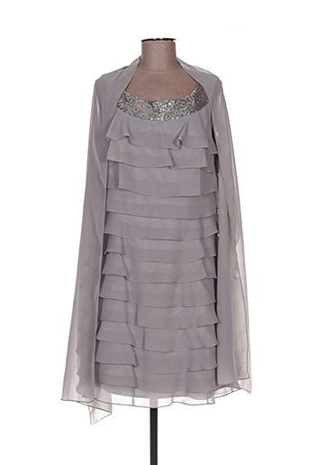 Robe mi-longue gris FASHION NEW YORK pour femme