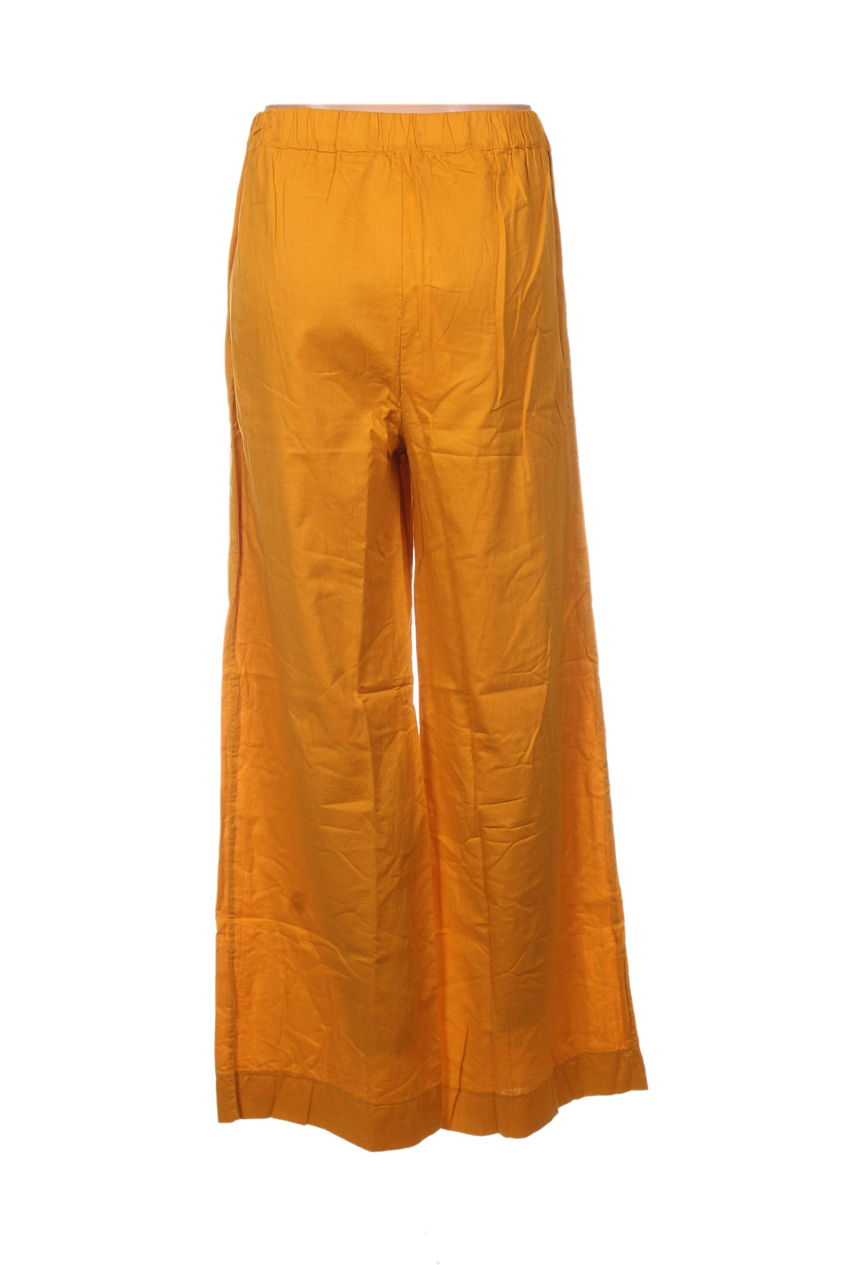 La Fee Maraboutee Pantalons Decontractes Femme De Couleur Jaune En Soldes Pas Cher 1396979-jaune0