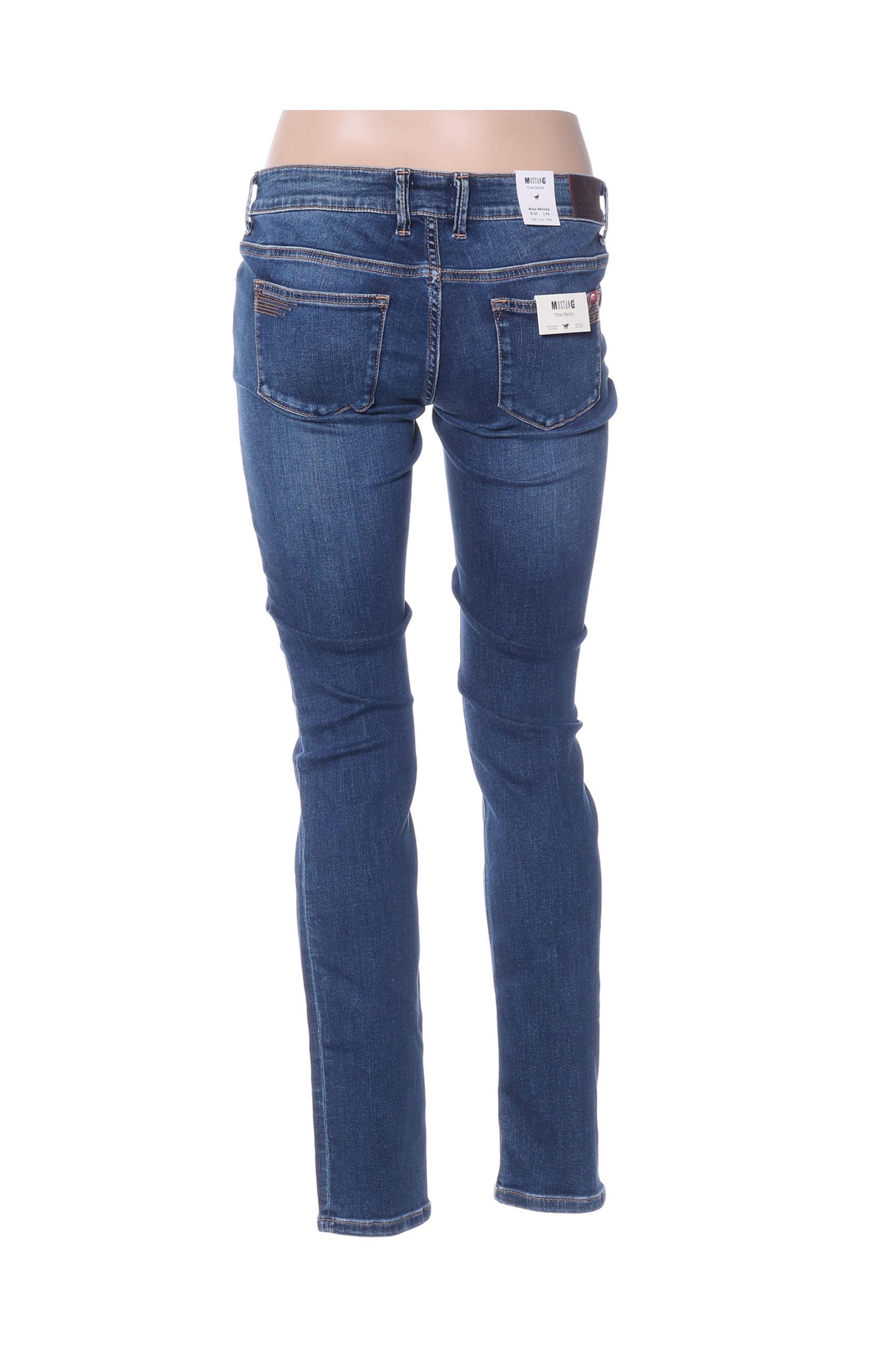 Mustang Jeans Coupe Slim Femme De Couleur Bleu En Soldes Pas Cher 1411523-bleu00