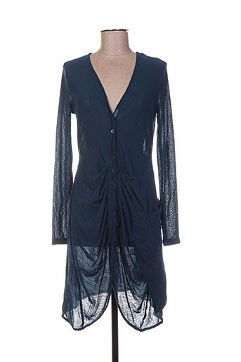Gilet manches longues bleu ARELINE pour femme