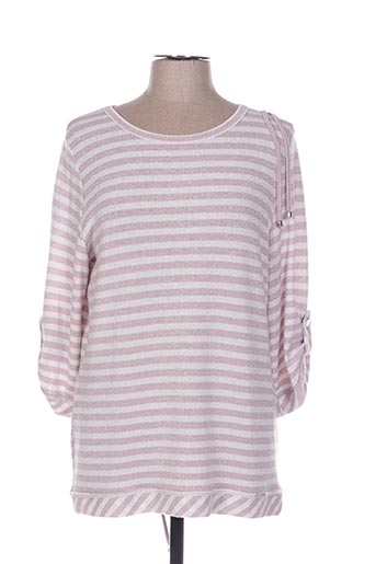 Pull col rond rose CHEMA BLANCO pour femme