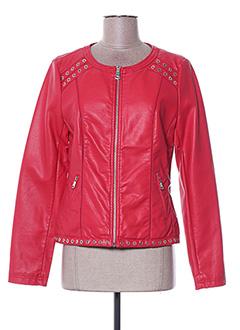 Veste simili cuir rouge ESCANDELLE pour femme