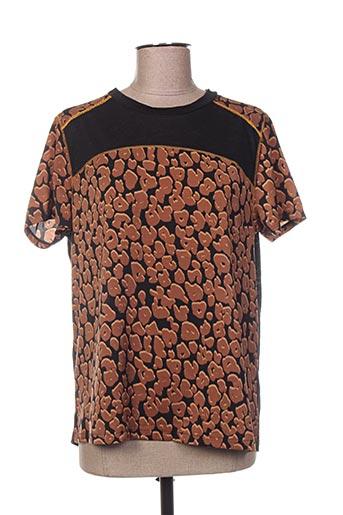 T-shirt manches courtes marron MAISON SCOTCH pour femme