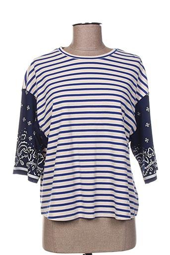 T-shirt manches longues bleu SCOTCH & SODA pour femme