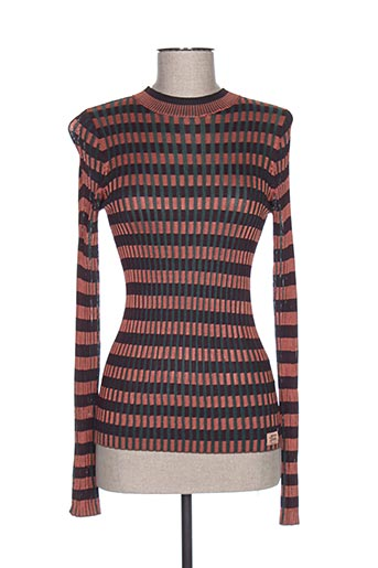Pull col rond orange MAISON SCOTCH pour femme