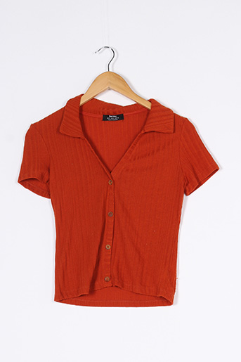 Pull col V orange BERSHKA pour femme