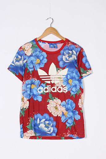 T-shirt manches courtes rouge ADIDAS pour femme