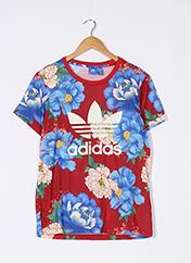 T-shirt manches courtes rouge ADIDAS pour femme seconde vue