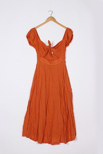 Robe longue orange FREE PEOPLE pour femme
