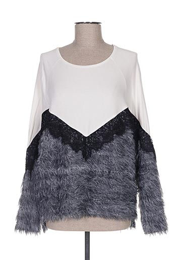 Pull col rond gris COTTON BROTHERS pour femme