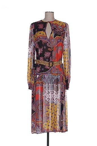 Robe mi-longue orange DIXIE pour femme