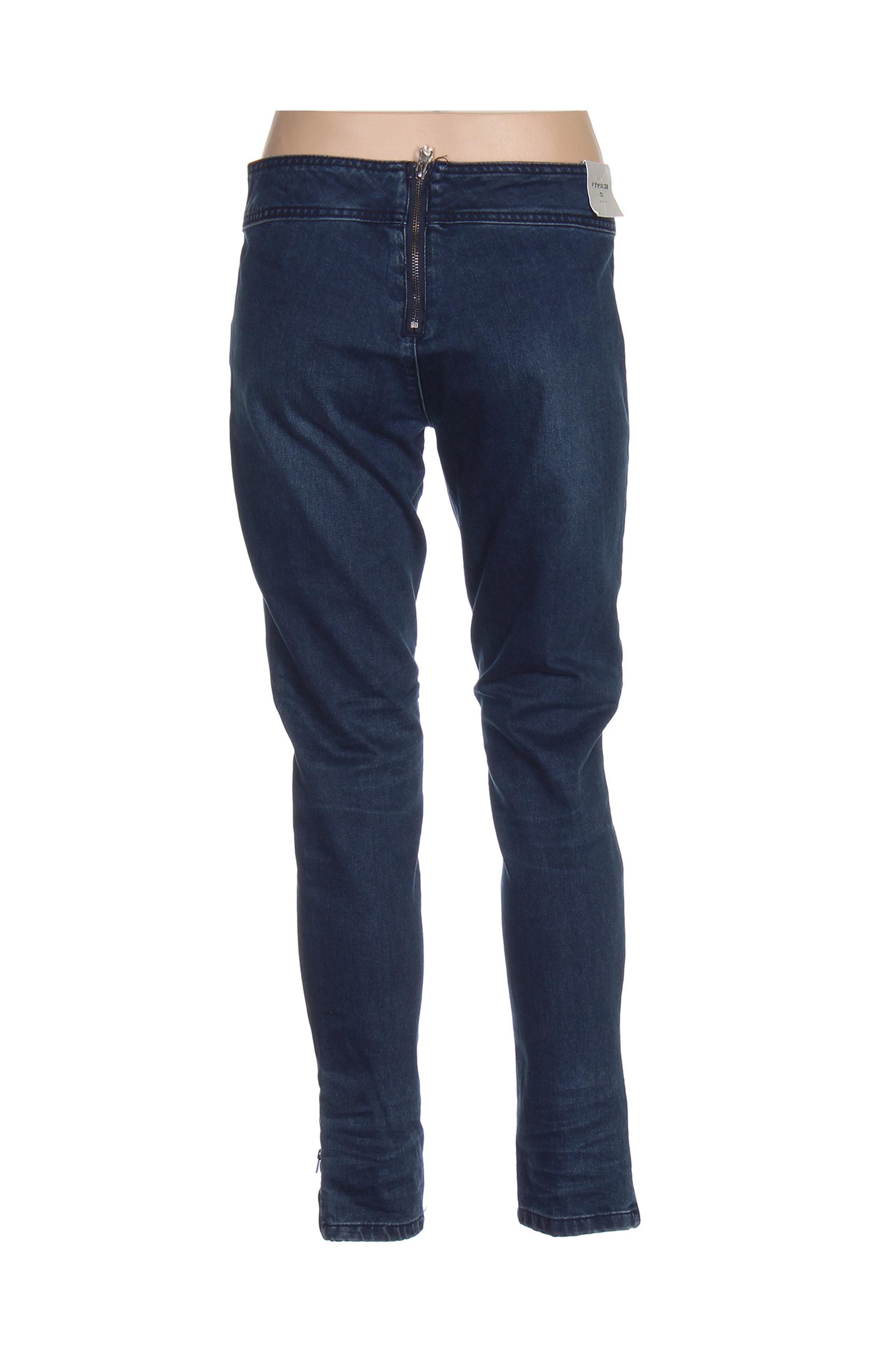 Cream Jeans Coupe Slim Femme De Couleur Bleu En Soldes Pas Cher 1421201-bleu00