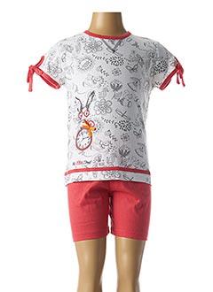 Pyjashort blanc ROSE POMME pour fille