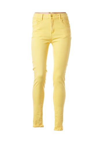 Pantalon casual jaune B.S JEANS pour femme