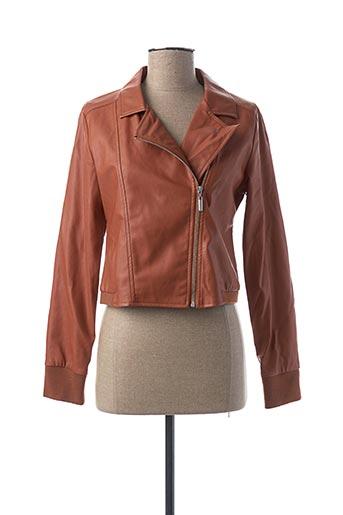 Veste simili cuir orange MIA SOANA pour femme
