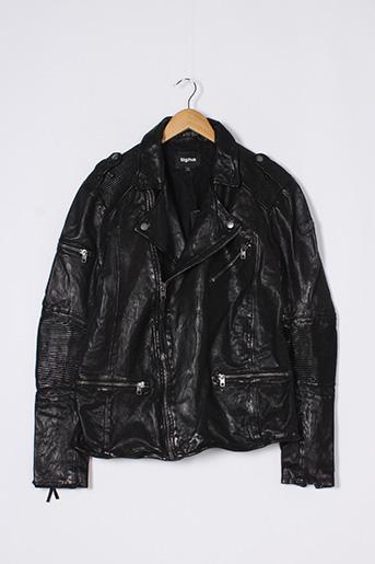 Veste en cuir noir TIGHA pour homme