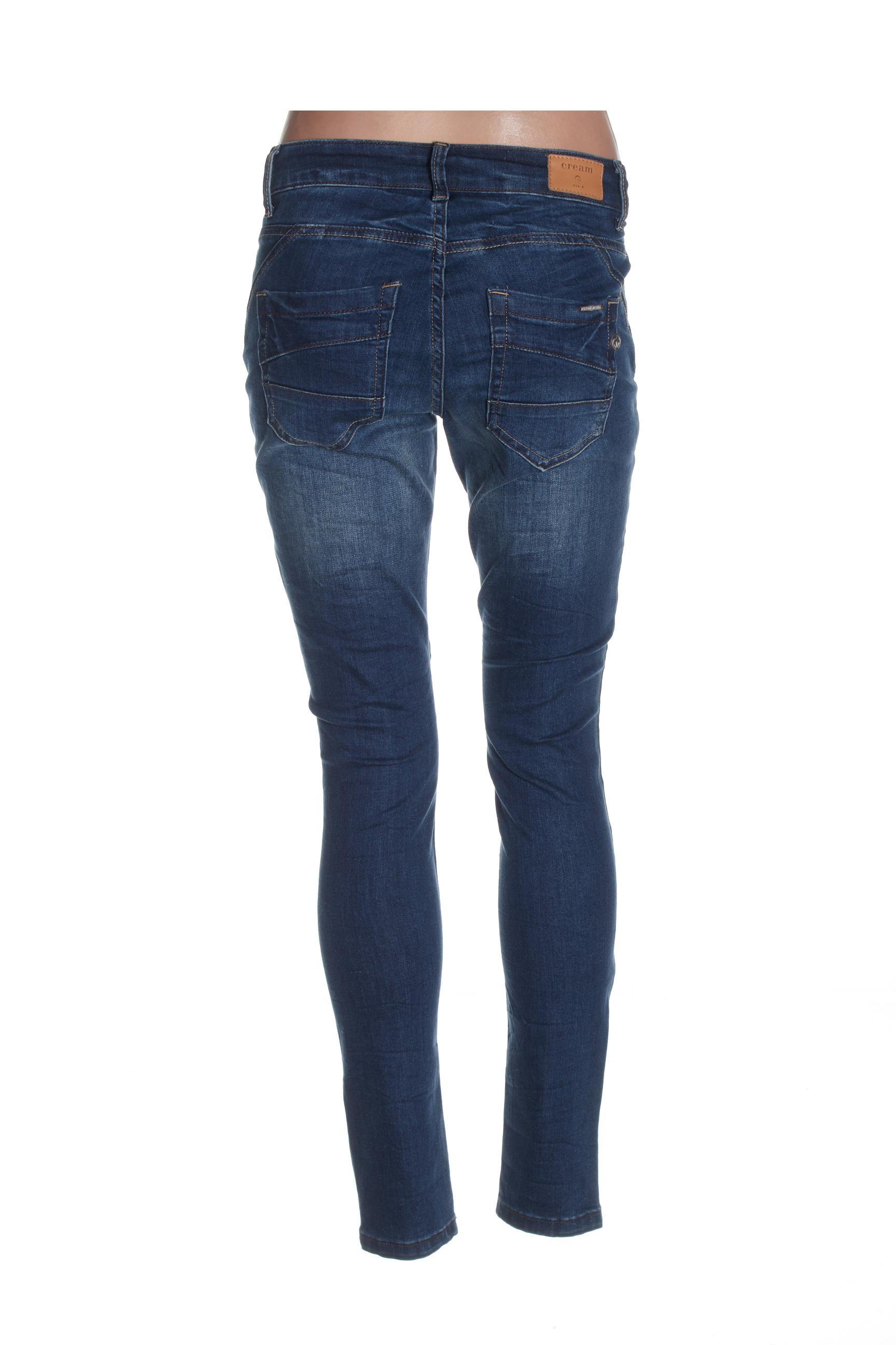 Cream Jeans Coupe Slim Femme De Couleur Bleu En Soldes Pas Cher 1433999-bleu00