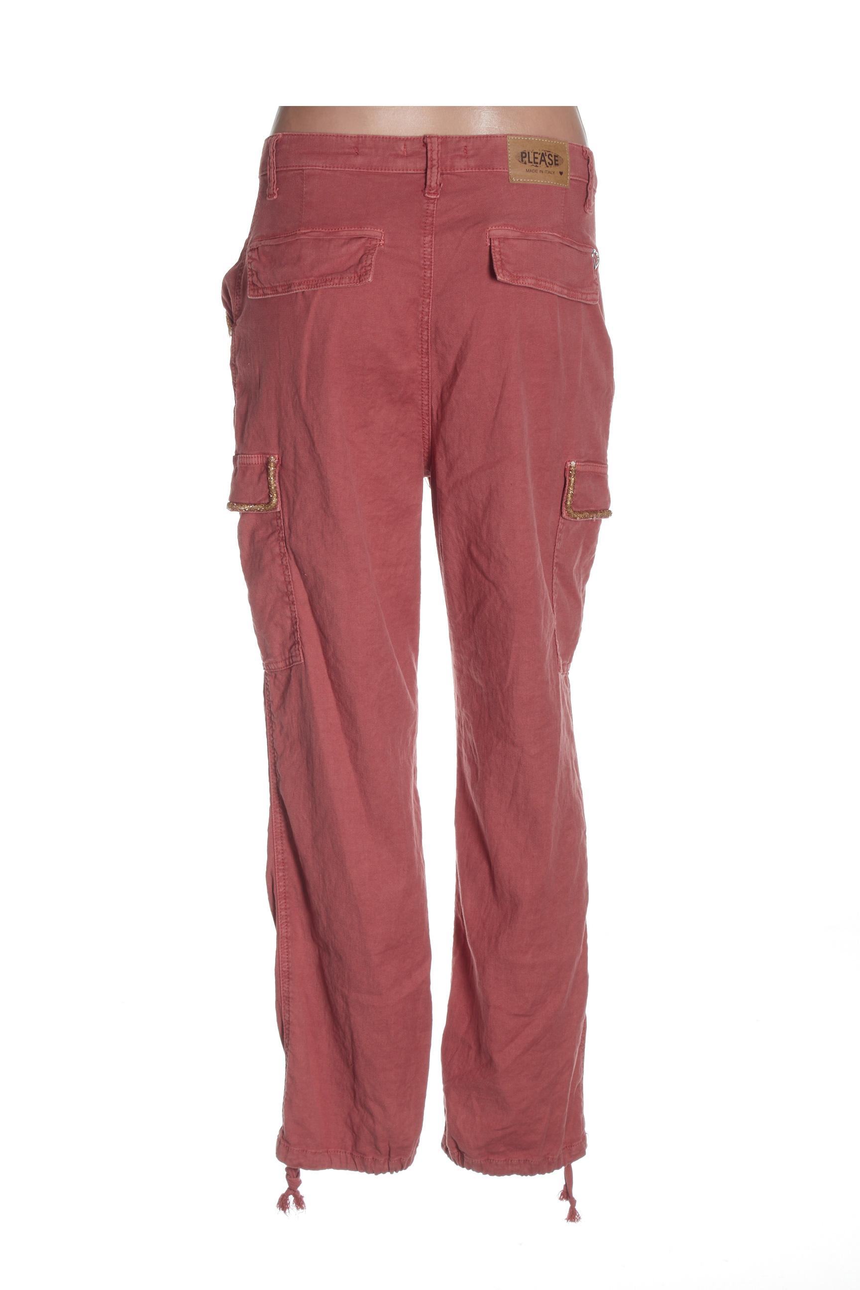 Please Pantalons Decontractes Femme De Couleur Rouge En Soldes Pas Cher 1434032-rouge0