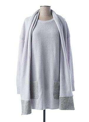 Pull col châle gris MARIE-SIXTINE pour femme