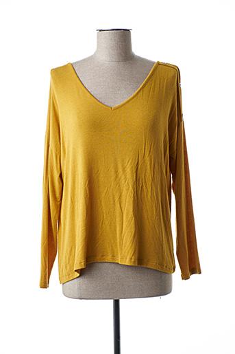 T-shirt manches longues marron PAKO LITTO pour femme