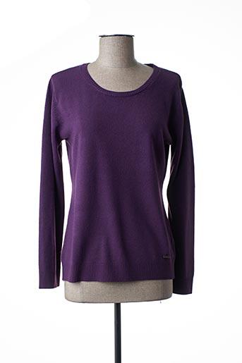 Pull col rond violet FELINO pour femme