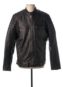Veste en cuir noir PEPE JEANS pour homme