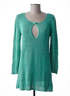 Pull tunique vert CLAUDE CHESNE pour femme