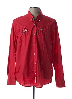 Chemise manches longues rouge ARISTOW pour homme