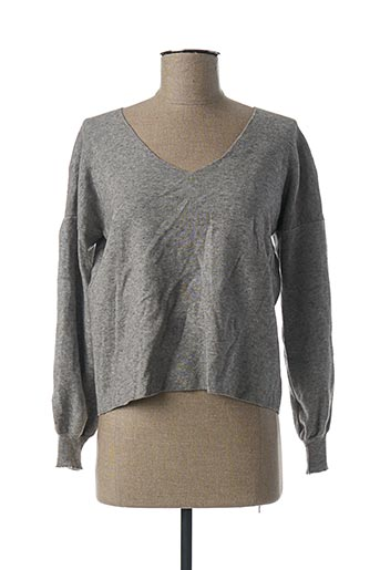 Pull col V gris EL INTERNATIONALE pour femme