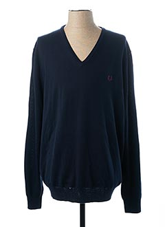 Pull col V bleu FRED PERRY pour homme