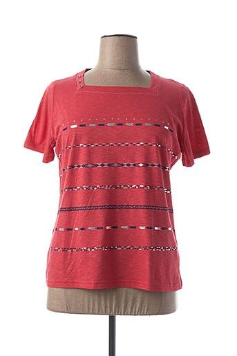T-shirt manches courtes rouge I.ODENA pour femme