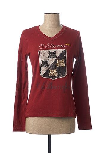 T-shirt manches longues marron AERONAUTICA pour femme