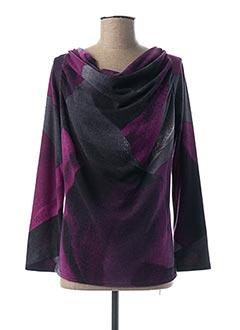 Pull col bénitier violet MARBLE pour femme