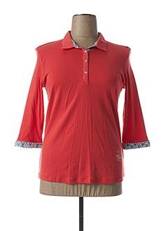 Polo manches longues rouge THALASSA pour femme