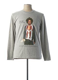 T-shirt manches longues gris BLU MEN pour homme