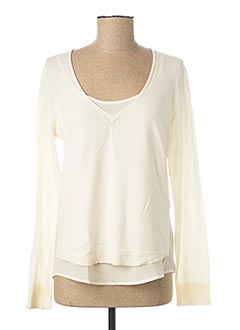 Pull col rond beige ONE STEP pour femme