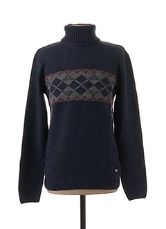 Pull col roulé bleu RECYCLED ART WORLD pour homme