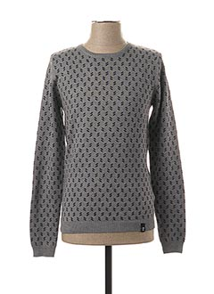 Pull col rond gris RECYCLED ART WORLD pour homme
