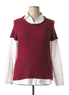 Pull col rond rouge FRED SABATIER pour femme