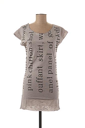 T-shirt manches courtes gris AKOZ pour femme