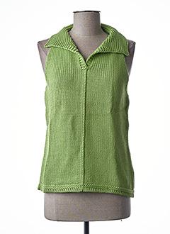 Pull col V vert STEFAN GREEN pour femme