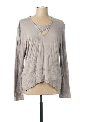 T-shirt manches longues gris CATY LESCA pour femme