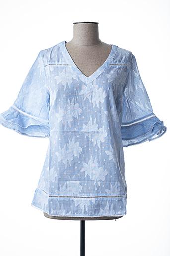 Blouse manches courtes bleu FELINO pour femme
