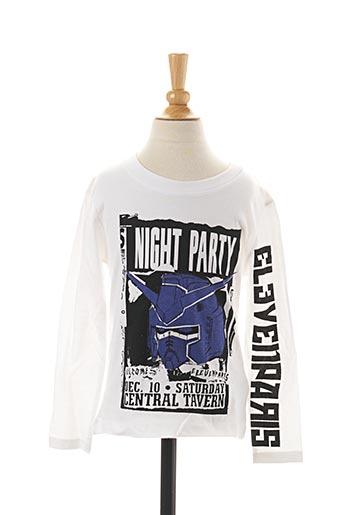 T-shirt manches longues blanc ELEVEN PARIS pour garçon